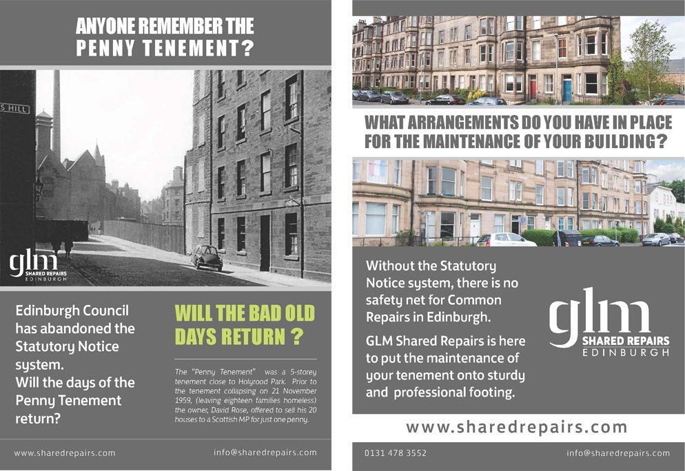 GLM Shared Repairs marketing leaflet distributed around Edinburgh